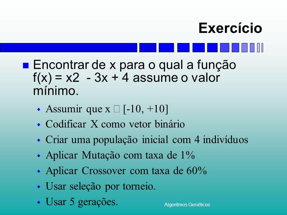 Exercício Encontrar de x para o qual a função f(x) = x2 - 3x + 4 assume o valor mínimo. Assumir que x Î [-10, +10]